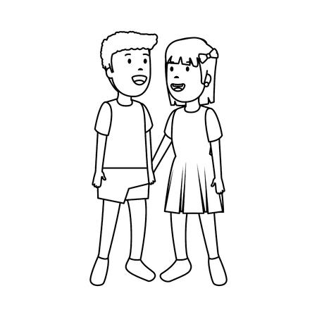 Diseño de ilustración de vector de personajes de pareja de niños pequeños Ilustración de vector