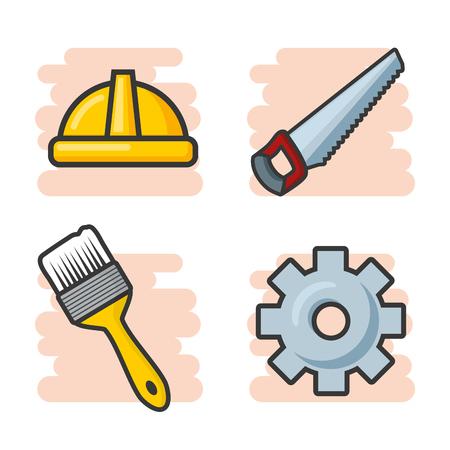 construction repair tools icons set vector illustration