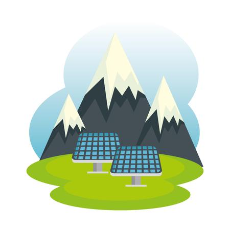 Los paneles solares de la ecología energética en el paisaje, diseño de ilustraciones vectoriales