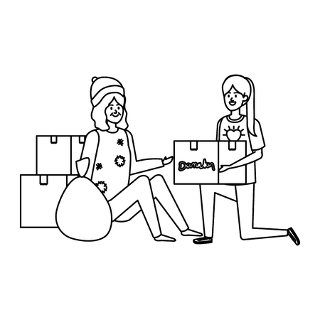 woman volunteer giving a homeless woman donations box vector illustration design Banque d'images - 123057790