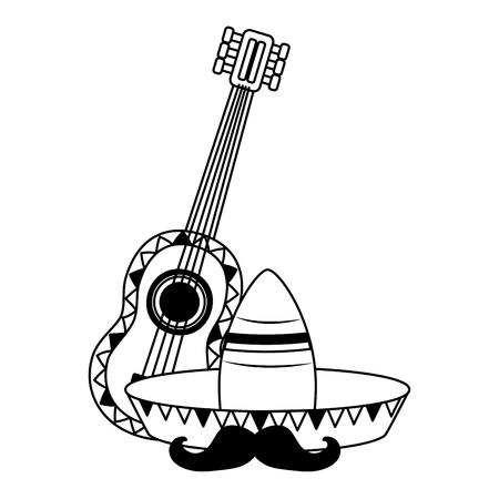 hat guitar mustache mexico cinco de mayo vector illustration