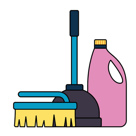plunger brush detergent spring cleaning tool vector illustration 일러스트