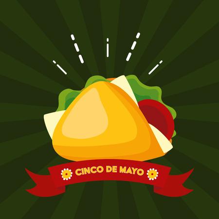 taco food mexico cinco de mayo vector illustration