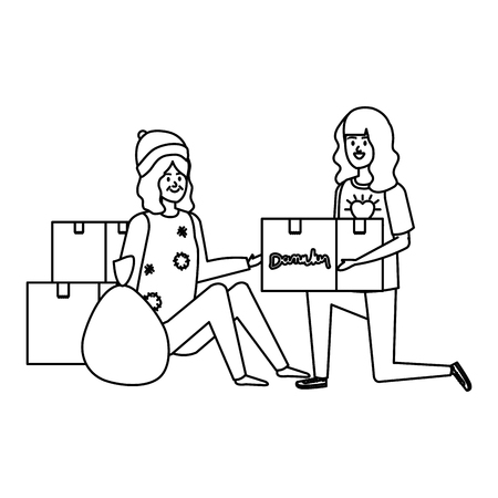 woman volunteer giving a homeless woman donations box vector illustration design  イラスト・ベクター素材
