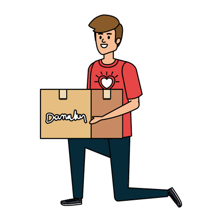 giovane, volontario, sollevamento, donazioni, scatola, vettore, illustrazione, design