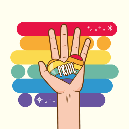 hand with rainbow colors lgbt pride love vector illustration