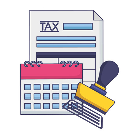 tax payment document calendar invoice paid stamp vector illustration 向量圖像