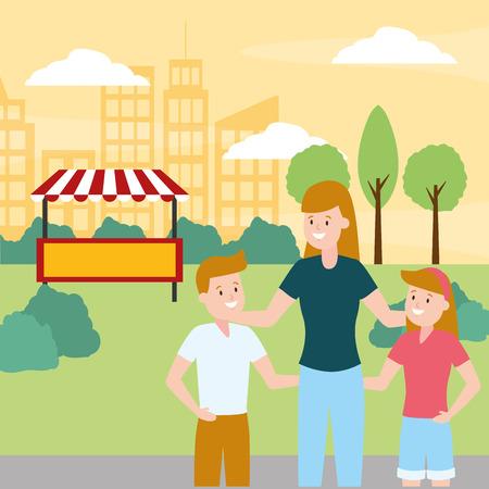 family mom and kids park vector illustration design
