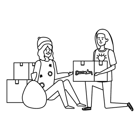 woman volunteer giving a homeless woman donations box vector illustration design Banque d'images - 123057849