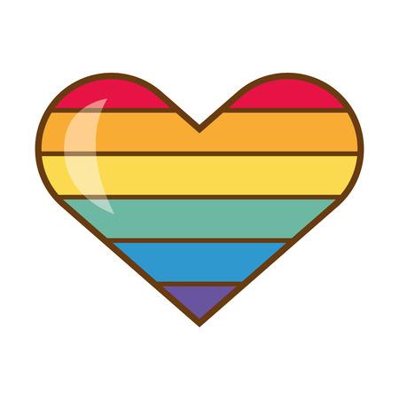 heart rainbow colors pride love vector illustration