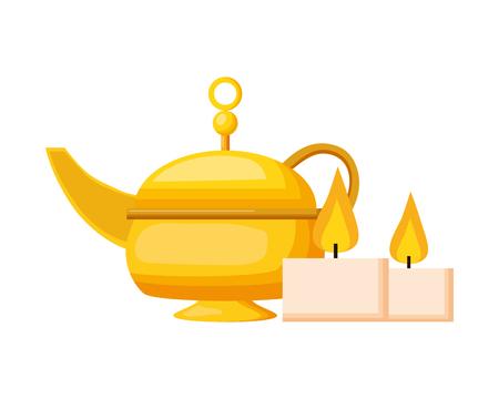 indian tea pot candles traditional vector illustration design Ilustração