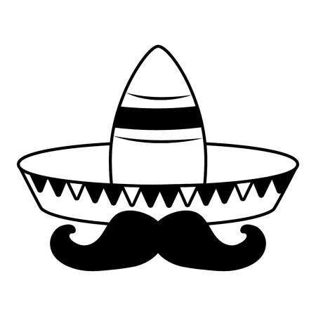 hat mustache mexico cinco de mayo vector illustration