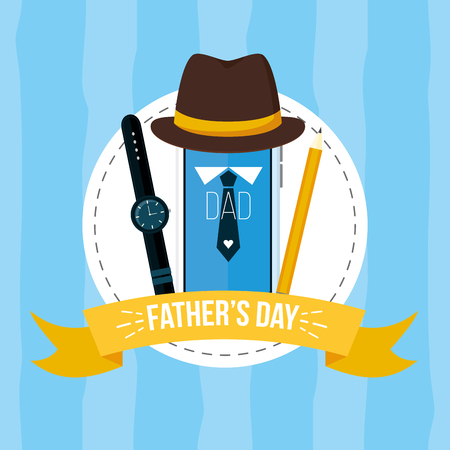hat watch pencil happy fathers day vector illustration