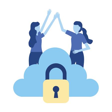 women cloud storage security data vector illustration