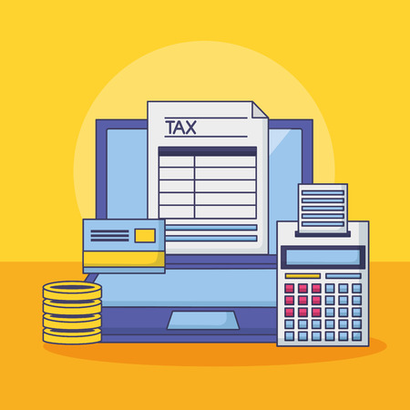 laptop bank card calculator money form tax payment vector illustration