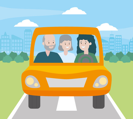 family mom and grandparents in the car vector illustration design 版權商用圖片 - 123057899