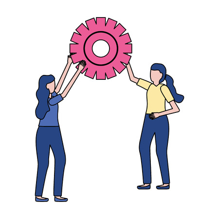business women holding gear work vector illustration 版權商用圖片 - 123057900