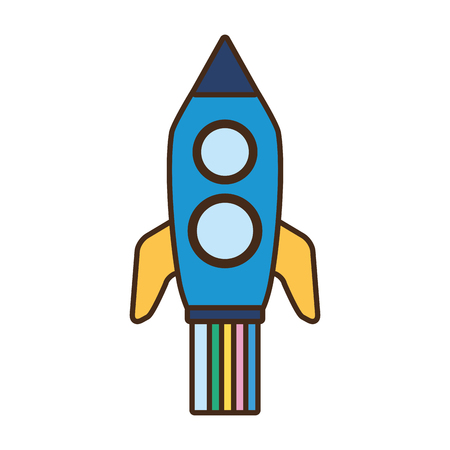 launch rocket spaceship on white background vector illustration