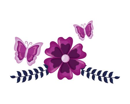 flowers butterfly leaves foliage decoration vector illustration
