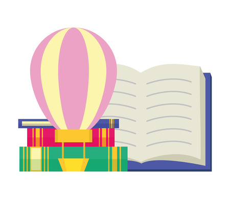 air balloon textbook - world book day vector illustration Stockfoto - 123057930