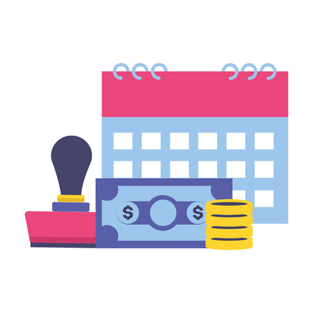 calendar paid money tax time payment vector illustration