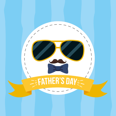 sunglasses mustache happy fathers day vector illustration