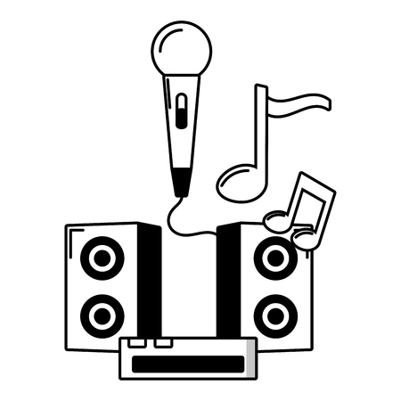 microphone speakers console music white background vector illustration  イラスト・ベクター素材