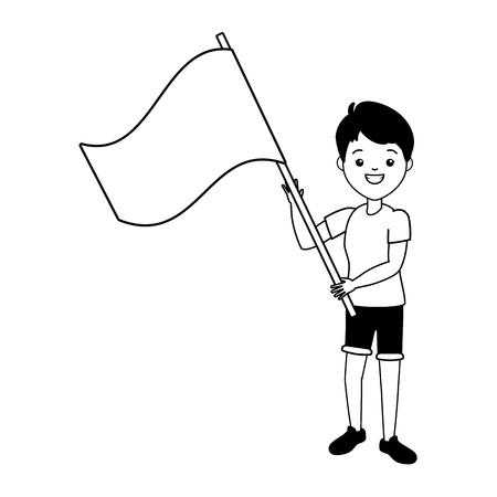 jeune femme, à, drapeau, vecteur, illustration, conception