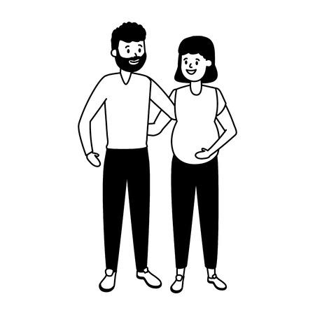 happy pregnant couple family vector illustration design 版權商用圖片 - 123057994