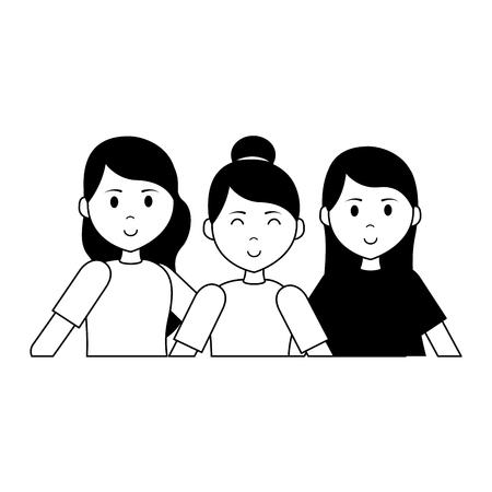 portrait women group characters vector illustration design 版權商用圖片 - 123057998