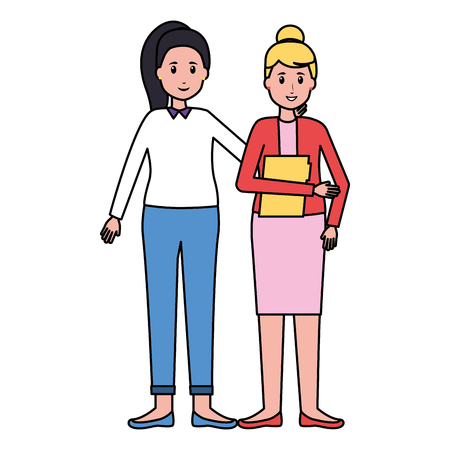 women colleagues team office vector illustration design 版權商用圖片 - 123058016