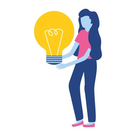 woman holding light bulb creativity vector illustration