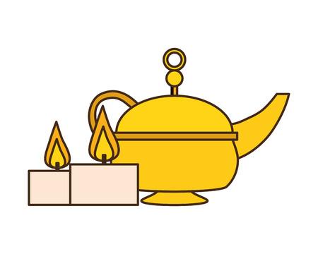 indian tea pot candles traditional vector illustration design Ilustrace