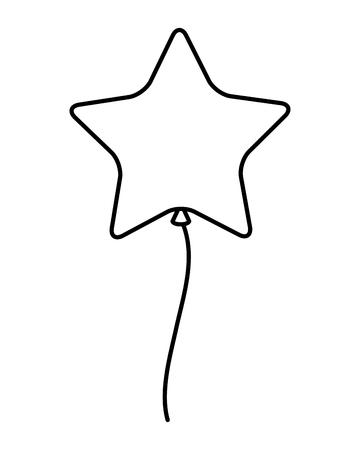 Globo de helio flotando con forma de estrella, diseño de ilustraciones vectoriales