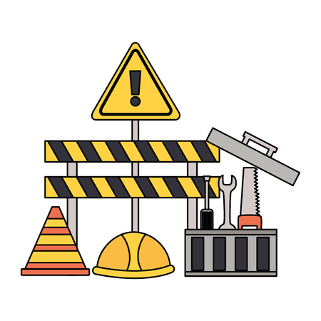 construction equipment repair toolbox tools barrier helmet vector illustration Illustration
