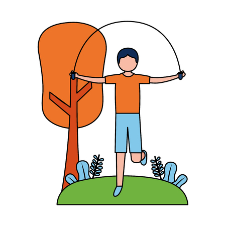 sporty man jumping rope activity outdoors vector illustration