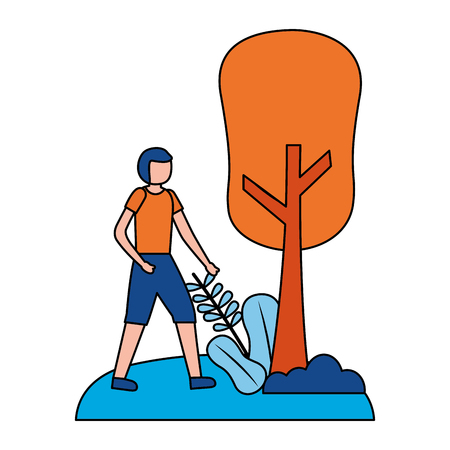 young man practicing exercise outdoors vector illustration Stock Illustratie