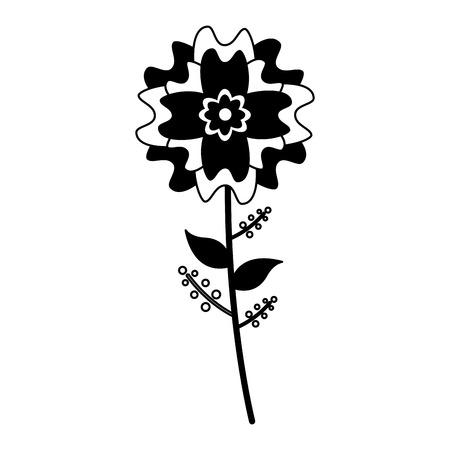 flower stem leaves on white background vector illustration design