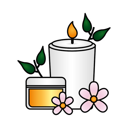 skin cream candle flowers spa treatment therapy vector illustration  イラスト・ベクター素材