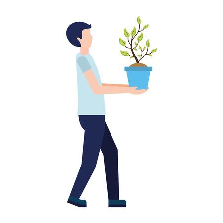 man holding plant in pot vector illustration