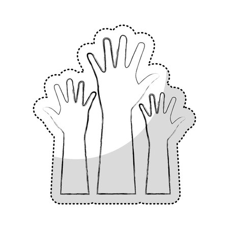 hands human up isolated icon vector illustration design Иллюстрация