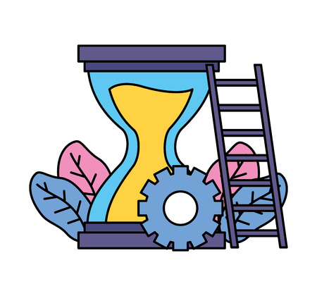 work hourglass clock stairs gear vector illustration Banque d'images - 123058105