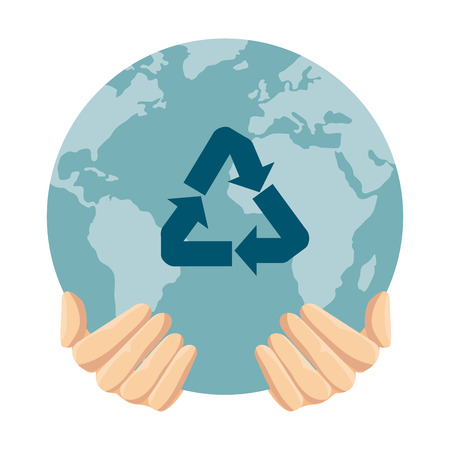 hands protecting earth planet with recycle arrows vector illustration design Çizim