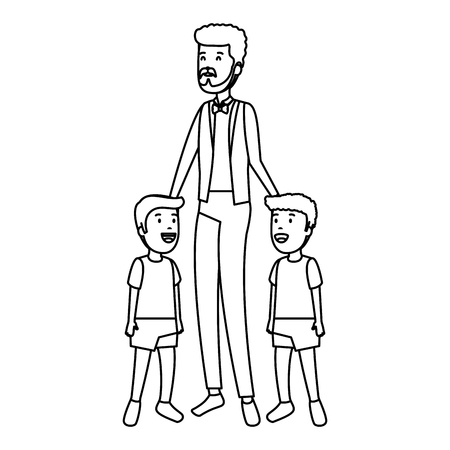 young father with sons characters vector illustration design Illustration