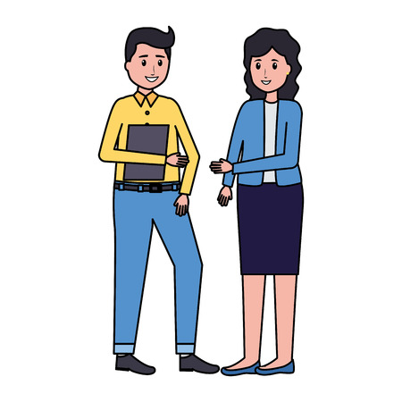 man and woman team office vector illustration 版權商用圖片 - 123058130