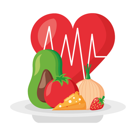 heartbeat food fresh world health day vector illustration