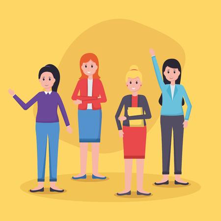 women colleagues team office vector illustration design Vektorové ilustrace