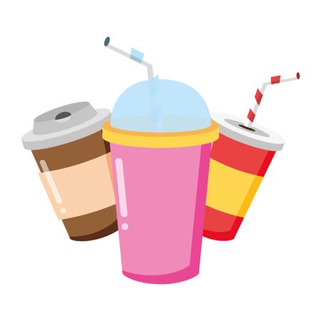 Desechables taza soda café soda comida rápida fondo blanco ilustración vectorial