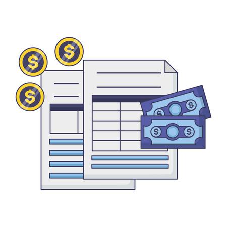 documento di pagamento delle tasse banconote monete denaro illustrazione vettoriale Vettoriali