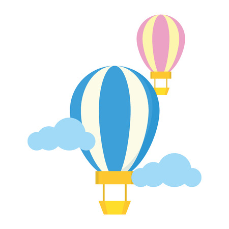 hot air balloon sky clouds vector illustration